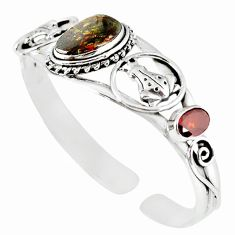 Natural multi color mexican fire agate 925 silver adjustable bangle m10422