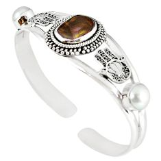 925 silver natural multi color mexican fire agate pearl adjustable bangle m10423