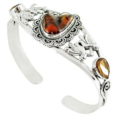 Natural multi color mexican fire agate 925 silver adjustable bangle m10427