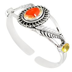 Natural multi color mexican fire opal 925 silver adjustable bangle m10429