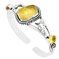 Natural libyan desert glass (gold tektite) 925 silver adjustable bangle m10435