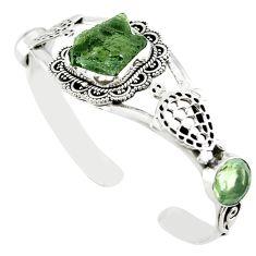 Natural green moldavite (genuine czech) 925 silver adjustable bangle m10450