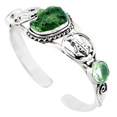 Natural green moldavite (genuine czech) 925 silver adjustable bangle m10453