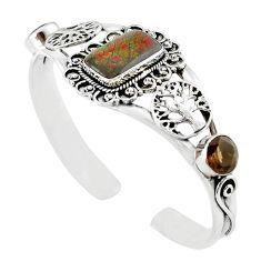 Natural multi color ammolite (canadian) 925 silver adjustable bangle m10458
