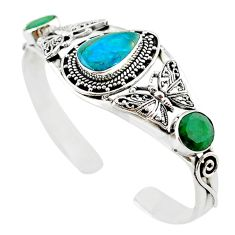 925 silver natural blue opaline green emerald adjustable bangle jewelry m10459