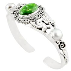 Natural green chrome diopside white pearl 925 sterling silver bangle m10466