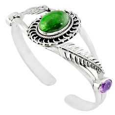Natural green chrome diopside amethyst 925 silver bangle jewelry m10469