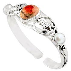 925 silver natural multi color mexican fire opal white pearl bangle m10478