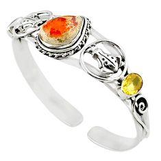 Natural multi color mexican fire opal yellow citrine 925 silver bangle m10479