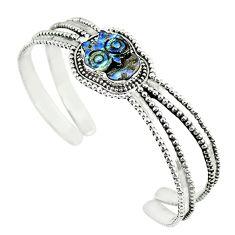 Natural blue boulder opal carving 925 silver adjustable bangle m13033