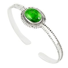 Natural green chrome diopside 925 sterling silver adjustable bangle m13034
