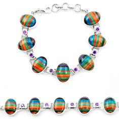 925 silver natural multi color rainbow calsilica amethyst tennis bracelet m1365