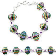 Natural multi color rainbow calsilica amethyst 925 silver tennis bracelet m1367