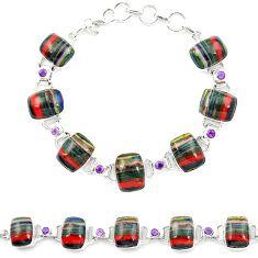925 silver natural multi color rainbow calsilica amethyst tennis bracelet m1372