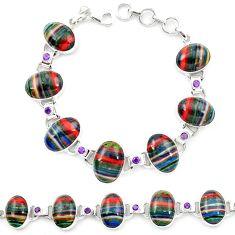 Natural multi color rainbow calsilica amethyst 925 silver tennis bracelet m1373