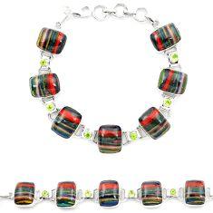 Natural multi color rainbow calsilica peridot 925 silver tennis bracelet m1377
