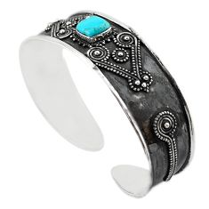 Blue arizona mohave turquoise 925 silver adjustable bangle m16474
