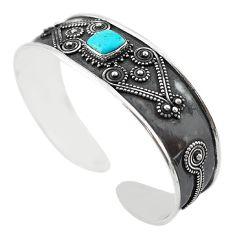 Blue arizona mohave turquoise 925 silver adjustable bangle m16475