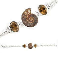 Natural brown ammonite fossil smoky topaz 925 silver bracelet m23181