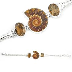Natural brown ammonite fossil smoky topaz 925 sterling silver bracelet m23183