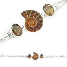 Natural brown ammonite fossil smoky topaz 925 sterling silver bracelet m23184