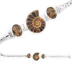 Natural brown ammonite fossil smoky topaz 925 silver bracelet m23187