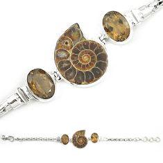 925 silver natural brown ammonite fossil smoky topaz bracelet jewelry m23189