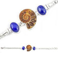 Natural brown ammonite fossil blue lapis lazuli 925 silver bracelet m23191