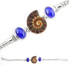 Natural brown ammonite fossil lapis lazuli 925 silver bracelet m23193