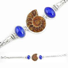 Natural brown ammonite fossil lapis lazuli 925 silver bracelet m23194