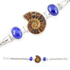 Natural brown ammonite fossil lapis lazuli 925 silver bracelet m23196
