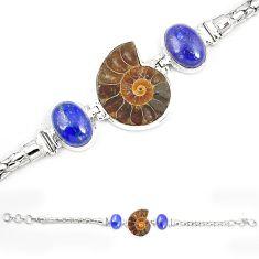 Natural brown ammonite fossil lapis lazuli 925 silver bracelet m23197