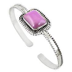 Natural purple phosphosiderite (hope stone) 925 silver adjustable bangle m25006
