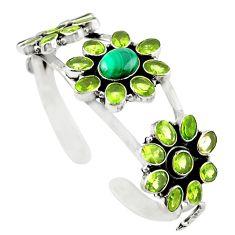 Natural green malachite (pilot's stone) 925 silver adjustable bangle m25010