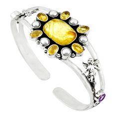 Natural golden tourmaline rutile pearl 925 silver adjustable bangle m25011