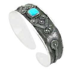 925 silver natural green arizona mohave turquoise adjustable bangle m25014