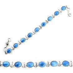 Natural blue owyhee opal 925 sterling silver tennis bracelet jewelry m29351