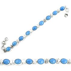 Natural blue owyhee opal 925 sterling silver tennis bracelet jewelry m29353