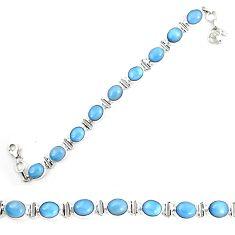 Natural blue owyhee opal 925 sterling silver tennis bracelet jewelry m29356