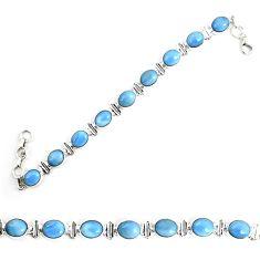 Natural blue owyhee opal 925 sterling silver tennis bracelet jewelry m29357
