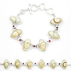 Natural white shiva eye garnet 925 sterling silver tennis bracelet m32202