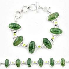 925 sterling silver natural green moss agate peridot tennis bracelet m32211