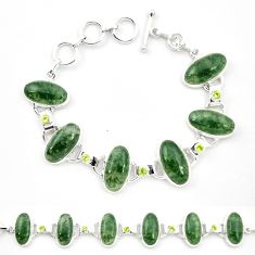 Natural green moss agate peridot 925 sterling silver tennis bracelet m32212