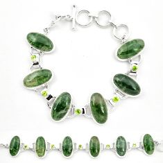 Natural green moss agate peridot 925 sterling silver tennis bracelet m32213