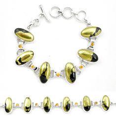 Natural golden pyrite in magnetite (healer's gold) 925 silver bracelet m32214