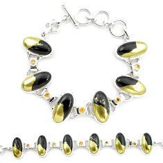 Natural golden pyrite in magnetite (healer's gold) 925 silver bracelet m32215