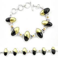 925 silver natural golden pyrite in magnetite (healer's gold) bracelet m32217