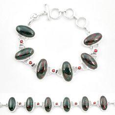 Natural green bloodstone african (heliotrope) 925 silver tennis bracelet m32225