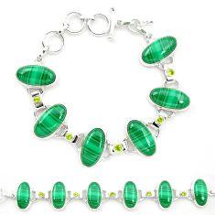 925 silver natural green malachite (pilot's stone) tennis bracelet m32244
