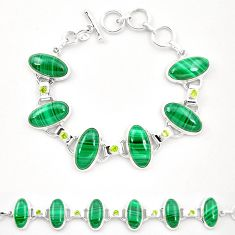 Natural green malachite (pilot's stone) 925 silver tennis bracelet m32247